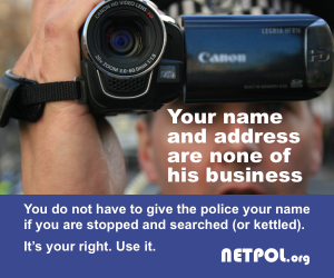 Netpol poster for the Don't Be on a Database campaign