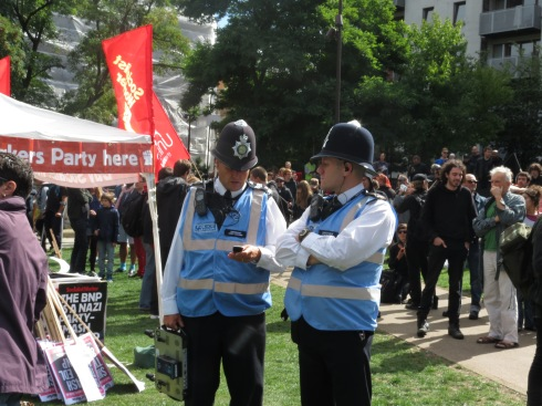 Police Liaison Officers at Tower Hamlets anti-EDL protest, Sept 2013
